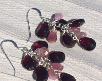 Garnet and Watermelon Tourmaline Sterling Silver Cluster Earrings