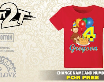 Curious George Custom T-Shirt, Custom Name and Number 1st 2nd 3rd 4th 5th 6th 7th Birthday 2T,3T,4T,5T,6T,7T, Custom birthday shirt