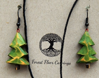Wood Carved Tree Jewelry Set