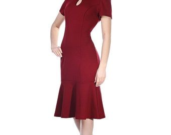 Burgundy pencil dress/ Burgundy mermaid dress/ Burgundy wrap dress/ Burgundy office dress with short sleeves/ Midi dress for office women