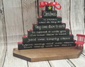 Christmas in Heaven Poem, Christmas Memorial, Christmas block, Christmas display,Christmas in Heaven display, Christmas in Heaven with chair