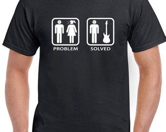 Problem Solved Guitar- Men's Funny Guitar T-Shirt