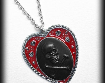 Gothic Cameo Necklace - Antiqued Skeleton Hand Cameo Necklace - Steampunk Victorian Zombie