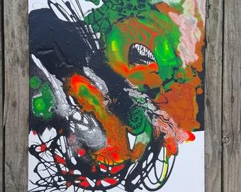 Abstract neon acrylic on canvas