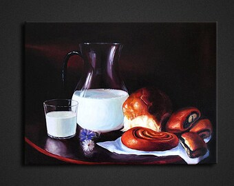"""Painting """"Milk and buns"""" .Oil painting on canvas. Beautiful home and office decoration.Modern painting."""