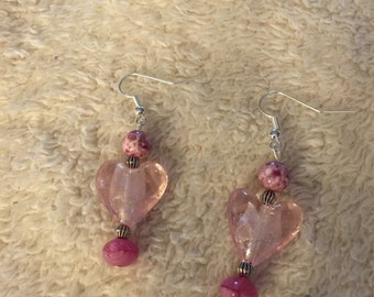 Pink Heart Beaded Dangle Earrings