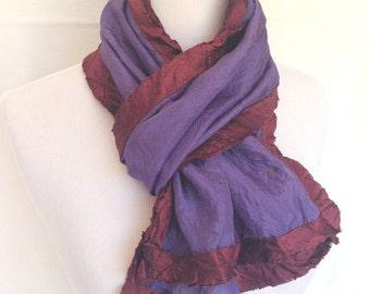 Boho Scarf | Purple Silk Scarf | Hand Dyed Scarf | Silk Scarf | Modern Silk Scarf | Modern Scarf | Casual Scarf | Elegant Scarves |