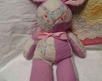 Quilted Bunny. Vintage Quilt. Bunny. Rabbit. Nursery Decor. Primitive. Patchwork. Rustic Decor. Handmade. One-of-a-Kind. Stuffed Animal.