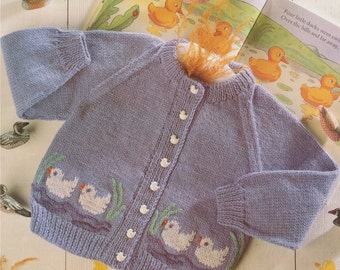 Baby Toddlers Cardigan PDF Knitting Pattern : Duck Motif . Childrens 20, 22, 24 and 26 inch chest . Boy or Girl . Digital Download