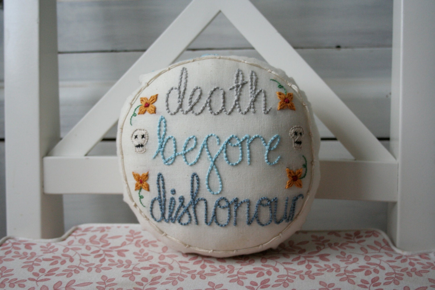 Profanityjane embroidered swear word pillow death before
