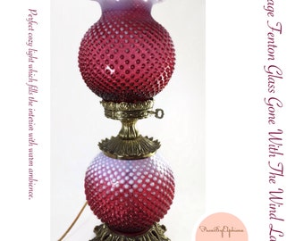 Vintage Fenton Cranberry Hobnail Opalescent Gone With The Wind Gone With The Wind Electric Lamp 3 Way Lighting Gwtw Lamp