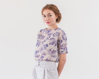 Floral print fabric oversize blouse