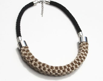 Black and cream knotted rope statement necklace