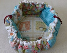 UNIQUE DOG BED, small, patchwork, circular, mat, bed, colorful, cute, handmade,adjustable, 72 cm diameter, washable, cream, red, turquoise,