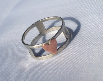 Double Band Sterling Silver Ring, Unique Ring, Double Band Ring with copper heart centre, Copper Heart Ring
