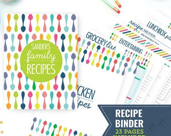 Printable Recipe Binder - Kitchen Binder - Family Recipe Binder - 23 Page Household Binder