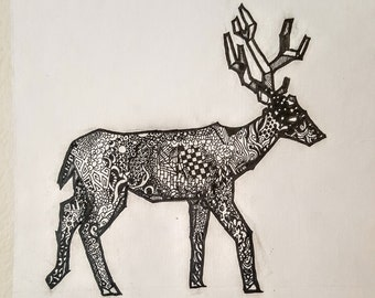 "Deer- Pen and Ink Drawing, 5.5""x5.5"""
