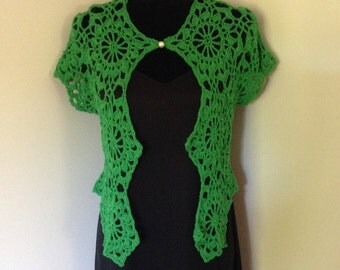 Bolero, shrug, green emerald cotton with pearl bead - new hand-made women's wear