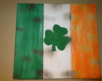 Irish Flag with Shamrock reclaimed wood burnt distressed