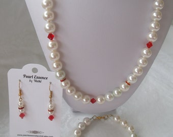 Christmas in July Jewelry Set-Swarovski® Pearls-Swarovski ®Crystals-White Pearls-Red Crystals-Pearls-Bicone Crystals-Holiday -Christmas Gift
