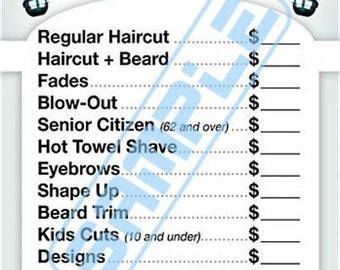 "Barber shop price list | Barber poster | Barber shop poster | 36"" x 24"" Lamintated 