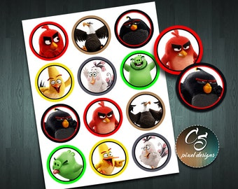 ANGRY BIRDS CUPCAKE Toppers  | Digital Item | No item will be shipped