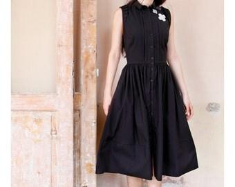 Black Shirt Dress, Casual Dress, Retro Dress, Collar Dress, Flower Dress, Sleeveless Dress, Swing Dress, Circle Dress, Preppy Dress