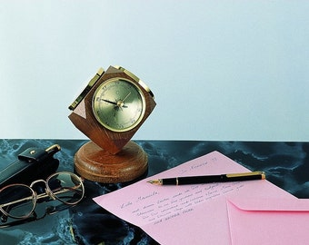 Vintage Oak Weather Station Desk Ornament - includes a thermometer, barometer, & hygrometer. - Handmade in Germany.