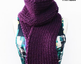 KNITTING PATTERN: Chunky Ribbed Scarf