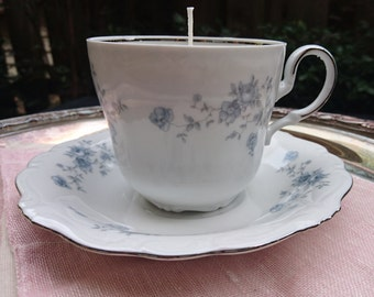 Unscented Soy Teacup Candle on Saucer - blue floral with silver- dye free, scent free - made in Portland, Oregon
