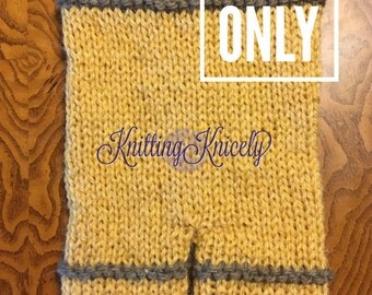 PDF Pattern Newborn Photo Props Knitted Shorties with Matching Bonnet;Knit Mustard Striped Boy Shorts: