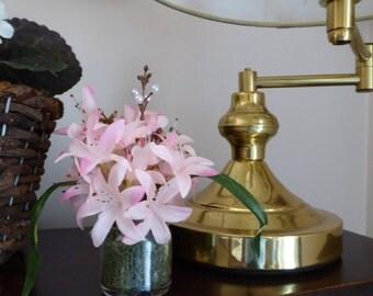 Miniature Silk Flower Arrangement, Pink flower arrangement, silk flowers