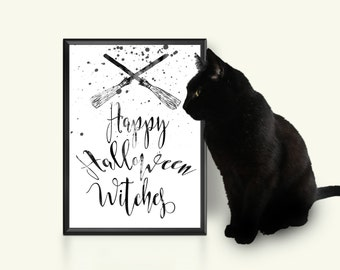 Happy Halloween witches print Halloween printable sign Witch Broom print Womens gift Fall decor Wall art Autumn decoration Black & white