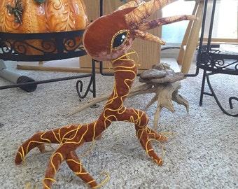 Shiny, Fuzzy, Orange Root Spirit with Gold Vines - Plush Fantasy Creature