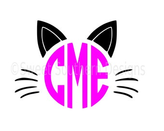Cat halloween monogram SVG instant download design for cricut or silhouette