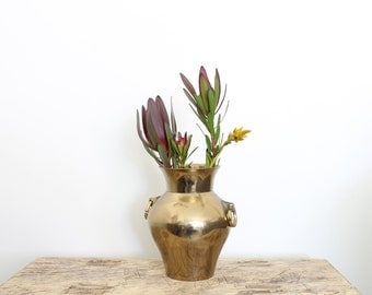 Vintage Brass Urn Vase // Heavy Brass Vessel with Loop Handles