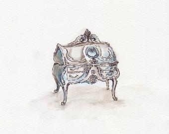"Art Print Watercolor artwork Illustration ""casket"" vintage, rustikal, painting, graphik"