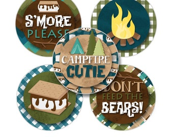 "Happy Camper Digital 1"" Bottle Cap Image Party Circles Birthday Party Printable S'mores Camping One Inch Collage Sheet INSTANT DOWNLOAD"