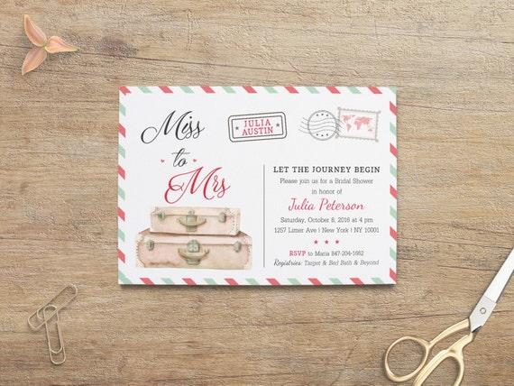 Travel Bridal Shower Travel Invitations Miss To Mrs Invite
