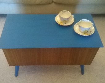 Mid Century Partially Hand Painted in Teal Teak Coffee Table / Storage / Toy Box / Sewing Box