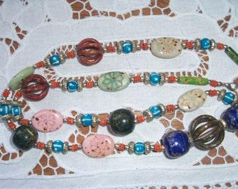 "Stunning ethnic inspired long multi-coloured ""hippy"" beads"