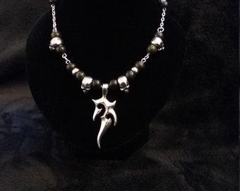 Silver Skull and Natural Dark Green Serpentine Gemstone Necklace