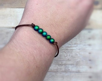Mood bead and leather bracelet