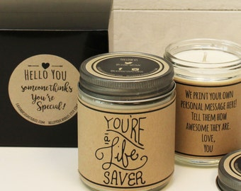 You're A Lifesaver Candle Gift - Thank You Gift | Appreciation Gift | Teacher Aid Gift | Candle Gift | Thank You Card | Scented Candle Gift