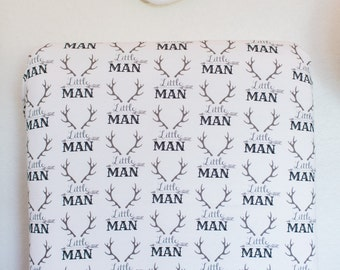 "Little Man Crib Sheet, Fitted Crib Sheet, Baby Bedding, Crib Bedding, Crib Sheets, GendBaby Boy Crib Sheet, Antlers, ""Little Man"" Crib Sheet"