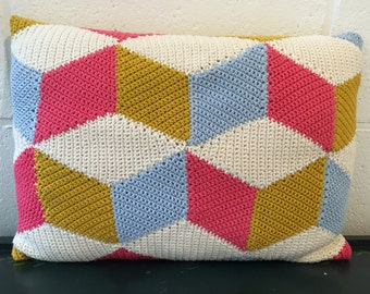Candy Floss - handmade crochet cushion