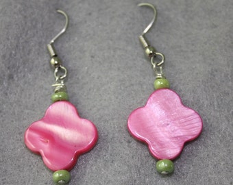 Hot Pink Flower Shell Earrings