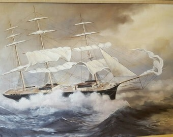 Clipper Ship 24 x 36 Oil Painting on Canvas