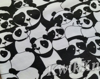 Black, white, panda, print, cotton lycra, stretch knit, fabric, cotton spandex, four way, stretch fabric, monochrome, bears, pandas, japan
