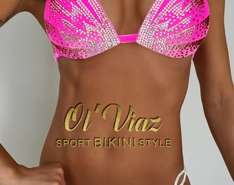 Light Pink Velvet Competition Bikini with Crystals/Competition Suit/Posing Suit/Rhinestone Fitness
